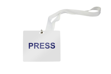 press labeled pass isolated on white background