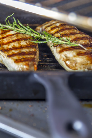 Two golden fried pieces of chicken breast in a griddle pan with rosemary photo