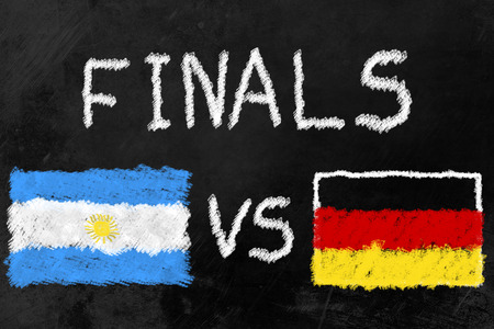 finalists: Flags of Argentina and Germany and the Word Finals on a Blackboard. Germany and Argentina are the two finalists of the soccer tournament