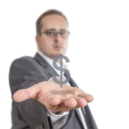 gb pound: Business man reaches out his arm with a Dollar sign floating over his hand. Isolated on White Background