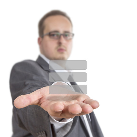 reaches: Business man reaches out his arm with a coloured blank list floating over his hand. Isolated on White Background