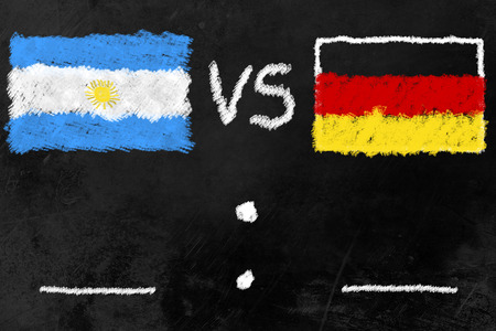 black board with flags of Argentina and Germany, the finalists of the soccer tournament. Stock Photo