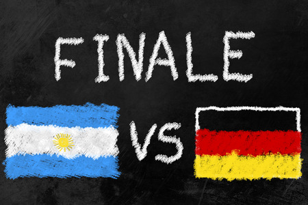 Flags of Argentina and Germany and the Word Finale (German for Finals) on a Blackboard. Germany and Argentina are the two finalists of the soccer tournament.