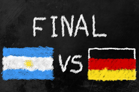 finalists: Flags of Argentina and Germany and the Word Final on a Blackboard. Germany and Argentina are the two finalists of the soccer tournament.