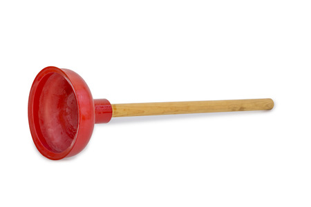 shaddow: Red rubber plunger with wooden handle isolated on white background with light shaddow