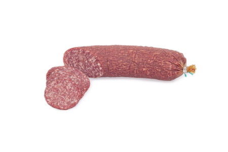 shaddow: Salami sausage with slices isolated on white background with light shaddow
