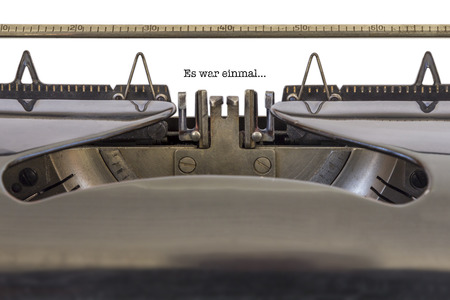 The Words Es war einmal (German Once upon a time) written on a typewriter photo