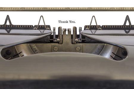 Les mots �Thank You� �crit sur une machine � �crire Banque d'images