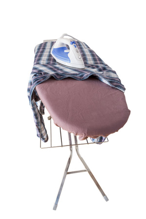 A Shirt with a steam iron on an ironing board isolated on white backgound