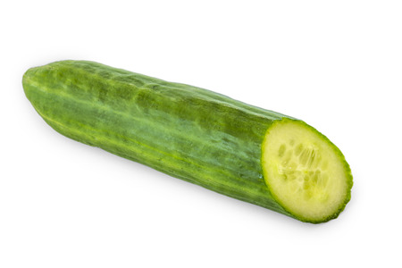 a halve cucumber isolated on white background Stock Photo