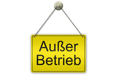 out of order: illustration of a yellow sign showing the words Ausser Betrieb (German Out of Order)  isolated on white background