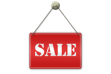 Illustration of a red Sale sign isolated on white background