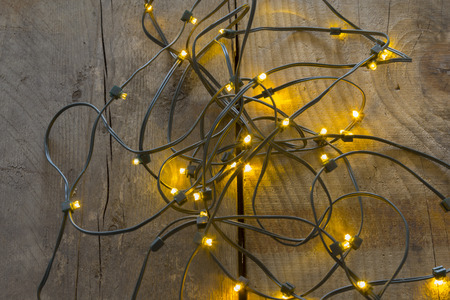 Electric lights need to be unraveled before decorating the christmas tree Stok Fotoğraf