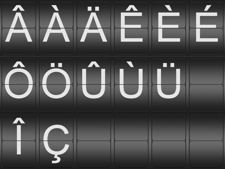 indicator board: Collection of umlaut and accent Letters on a mechenical indicator board Stock Photo