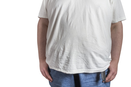 self assurance: overweight Man in blue jeans and white t-shirt isolated on white background Stock Photo
