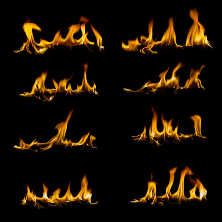 Collection of different types and shapes of flames isolated on black background Stock Photo