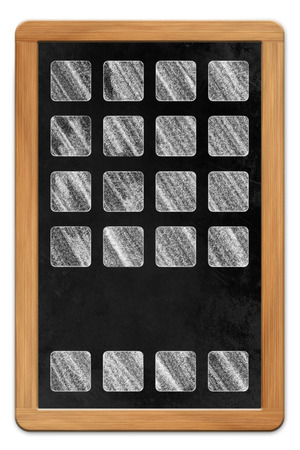 Blackboard with wooden frame and chalk drawn tablet computer app icons, isolated on white backround