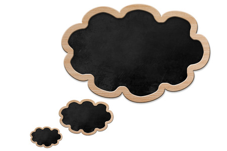 Blackboard in thought bubble shape with wooden frame, isolated on white backround photo