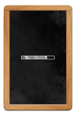 allusion: Blackboard with wooden frame and chalk drawn tablet computer loading symbol, isolated on white backround Stock Photo