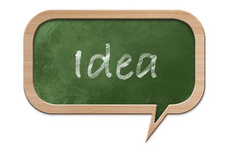 Idea written on a Blackboard in speech bubble shape with wooden frame, isolated on white backround photo