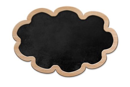 Blackboard en forme de nuage avec cadre en bois, isol� sur backround blanc