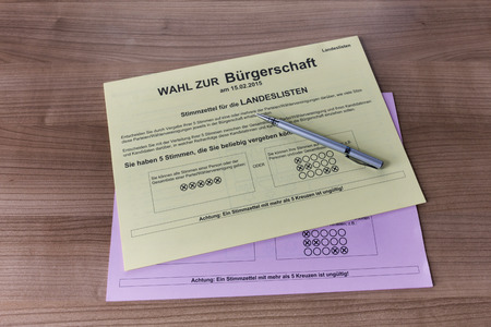 ballot papers: HAMBURG - JANUARY 25: Ballot papers for the city parliament election on Febuary 15 2015 in Hamburg. Editorial