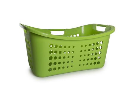 laundry basket: Empty Green Laundry Basket isolate on white background
