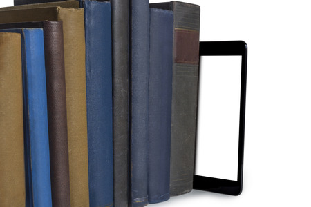 books and tablet computer isolated on white background