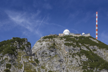 Research station and observatory on the summit of a mountain in the bavarian alps photo