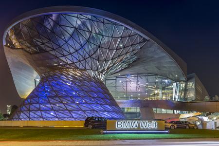 MUNICH - September 4: The BMW World in Munich at night
