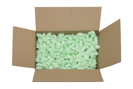 parcel full of packing fillers isolated on white background