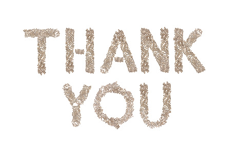 acknowledgment: Thank You written in letters formed with wooden cubes with letters isolated on white background Stock Photo
