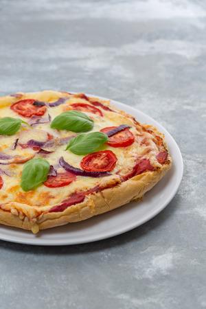 Pizza maison faite d'un pain plat avec des tomates, oignons rouges, fromage et de feuilles de basilic sur une plaque blanche Banque d'images