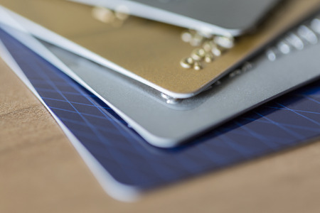 cloesup: Cloesup view of credit cards in blue, silver, gold and platinum black
