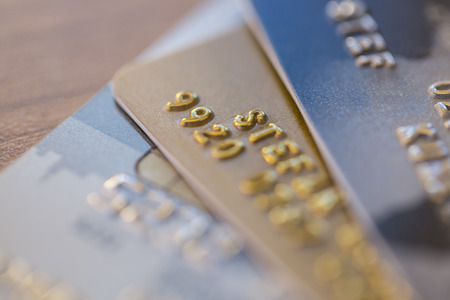 cloesup: Cloesup view of credit cards in silver, gold and platinum black Stock Photo