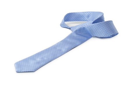 messed: Blue tie messed up isolated on white background