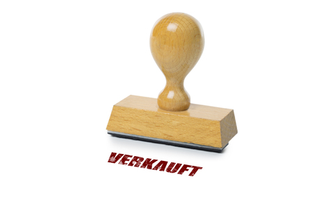 sold isolated: Verkauft (German Sold) printed in red ink with wooden Rubber stamp isolated on white background Stock Photo