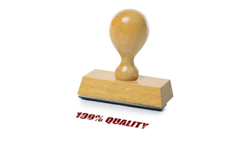 rubberstamp: 100% Quality printed in red ink with wooden Rubber stamp isolated on white background