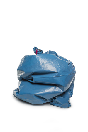 homicide: Blue Rubbish Bag isolated on white background