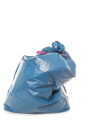 cadaver: Blue Rubbish Bag isolated on white background