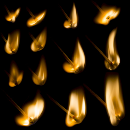 igniting: Collection of igniting matches isolated on black background Stock Photo