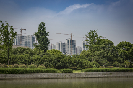 highrises: Row of new residential highrises under construction Stock Photo