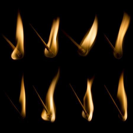 lit collection: Collection of burning matches isolated on black background