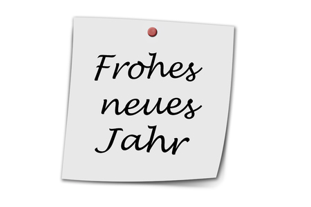 jahr: Frohes neues Jahr (German happy new year) written on a memo isolated on white