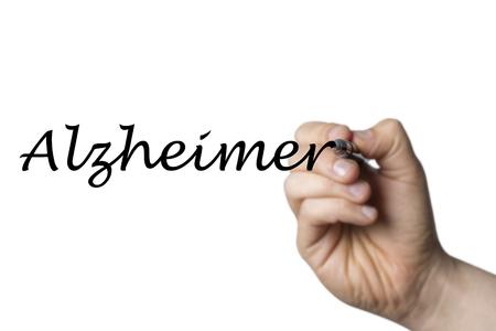 alzheimers: Alzheimer (german Alzheimers) written by a hand isolated on white background