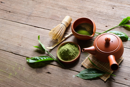Organic Green Matcha Tea in a Bowl.