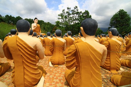 Stone Buddha statue at the Asian respect Stock Photo