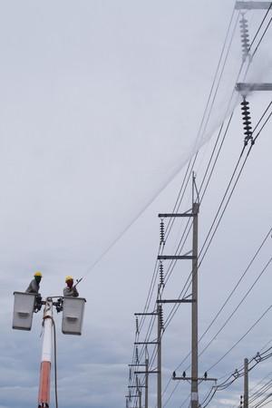 Firemen on a lift up  photo