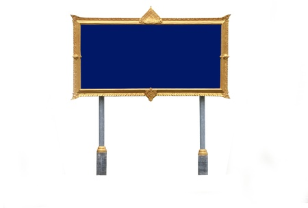 Signs for public places, gold frame photo