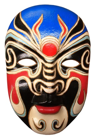 chinese opera: blue, red and cream colored mask isolated on white background Stock Photo